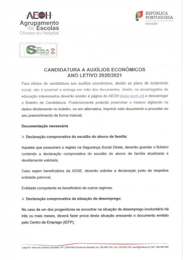 Processo de Candidatura a Auxílios Económicos 2020-2021