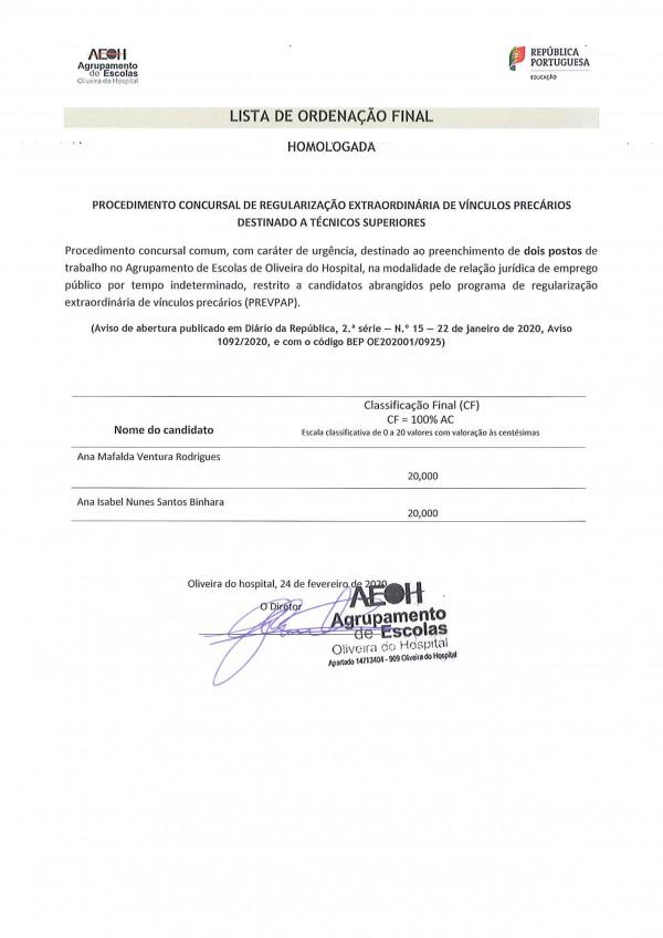 Lista Final Homologada - Programa de regularização extraordinária de vínculos precários (PREVPAP) - Técnicos Superiores