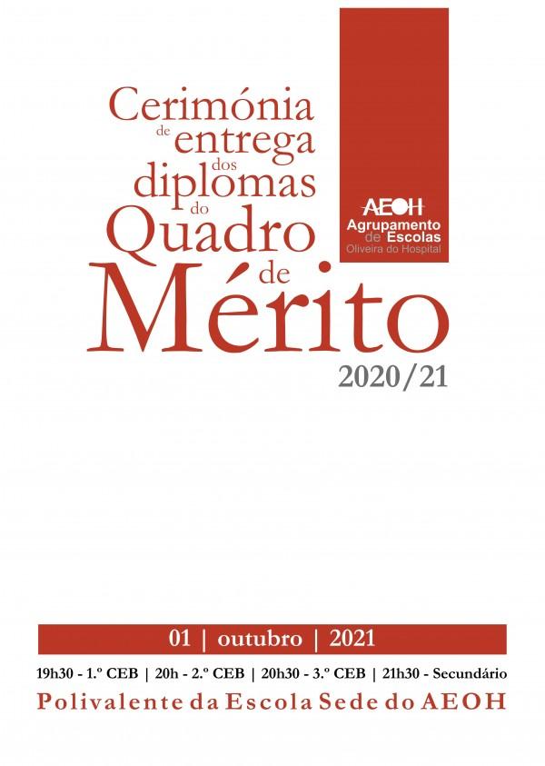 Cerimónia de entrega dos diplomas do quadro de mérito 2021