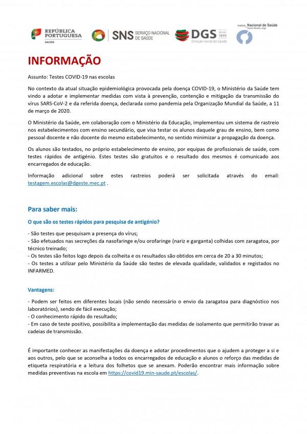Informação: Testes à COVID-19 nas Escolas