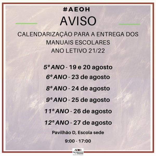 AVISO: Calendarização para a entrega dos manuais escolares para o próximo ano letivo