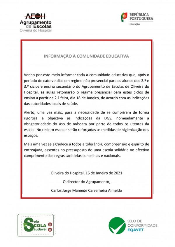 Informação à Comunidade educativa